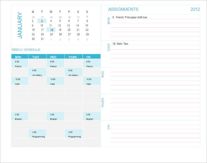 premium-college-schedule-template