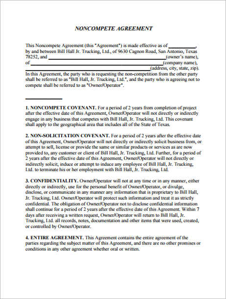 Non Compete Agreements  Free Word Excel Pdf Documents