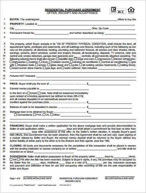 Residential Purchase Agreement Templates Creativetemplate – Property Purchase Agreement