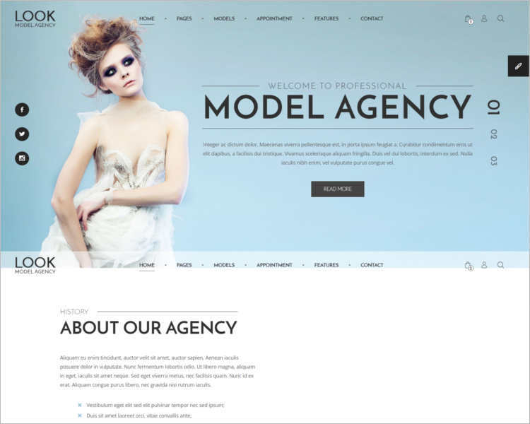professional-model-agency-website-templates