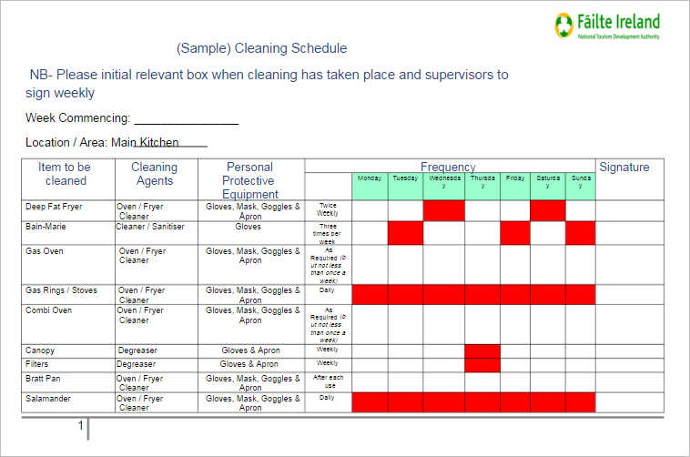sample cleaning schedule template word