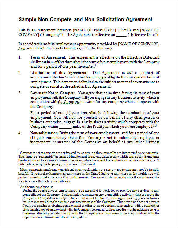 NonCompete Agreements Free Word Pdf Samples