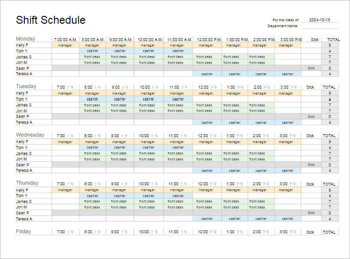 Work Schedule Templates Free Word Excel Pdf Formats