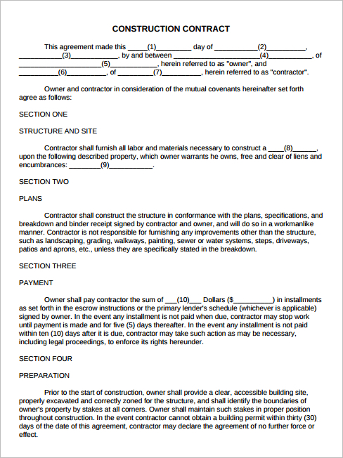 23 Latest Construction Agreement Template Free Premium – Free Construction Contracts Templates