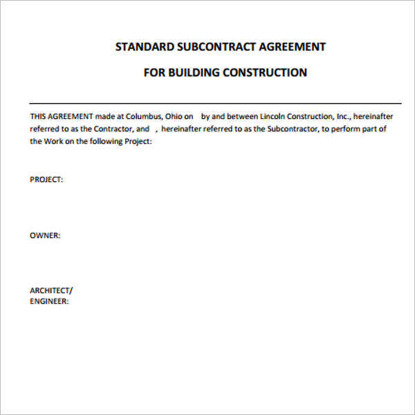 standard-subcontract-construction-agreement-template