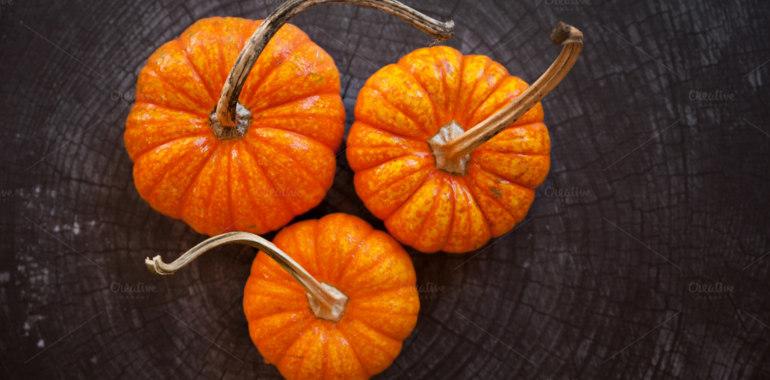 Three pumpkins on wood. Autumn