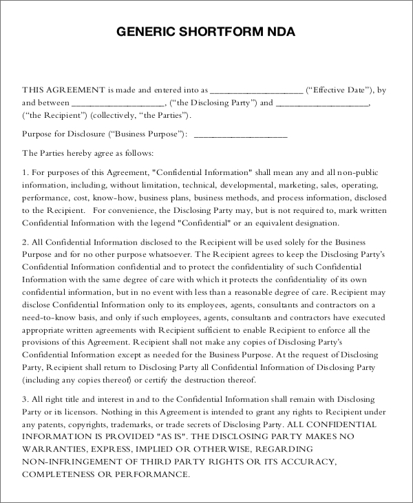 18 non disclosure agreement templates free pdf word formats for Free non disclosure agreement template