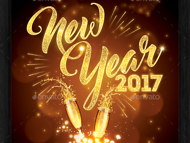 happy new year 2017 party flyer
