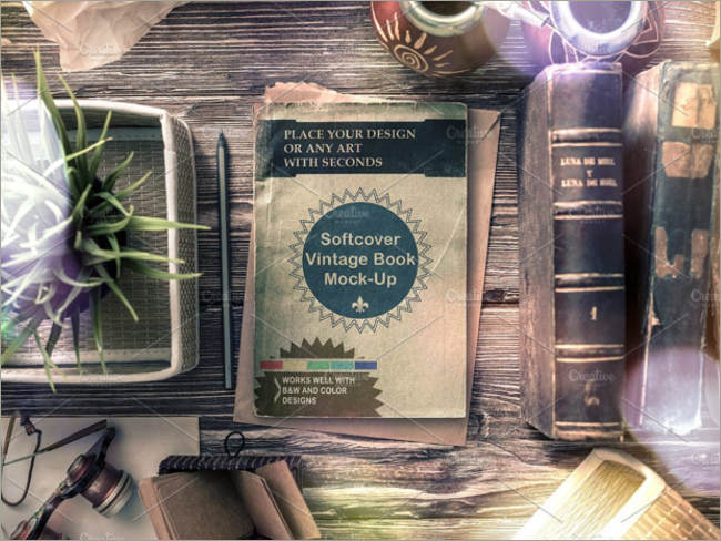 soft cover vintage book mockup