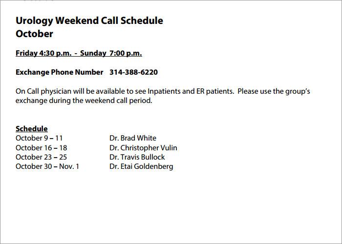 Weekend On Call Schedule Template from www.creativetemplate.net