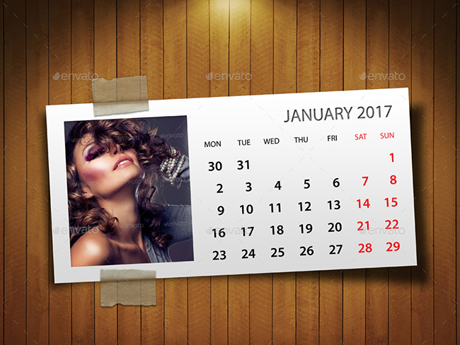 2017 Illustrator Calendar Mockups