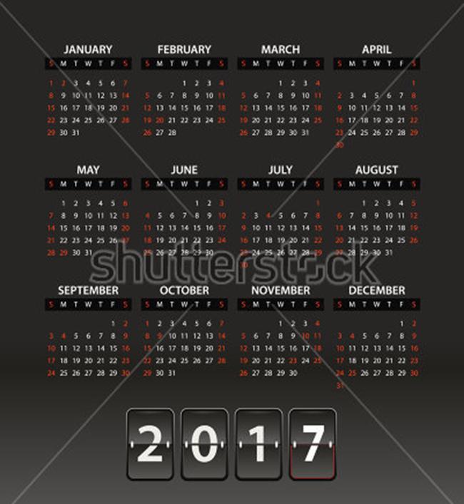 2017 Vector Calendar Mockups