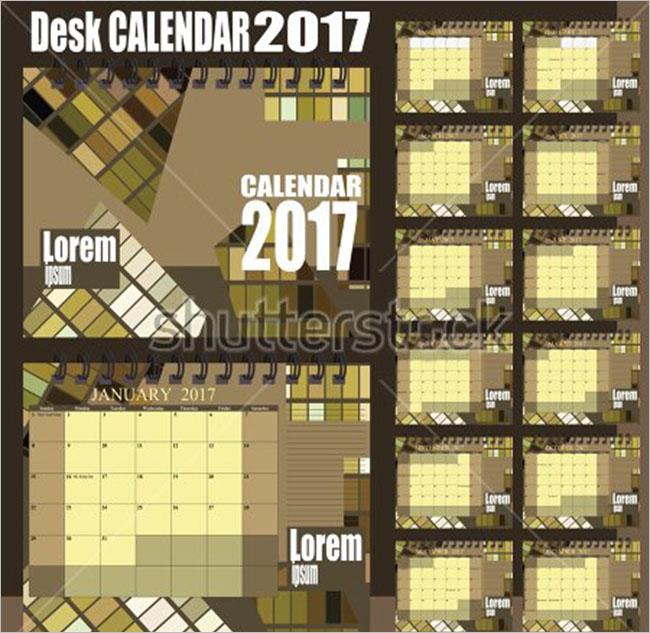 2017 Vintage Calendar Mockups