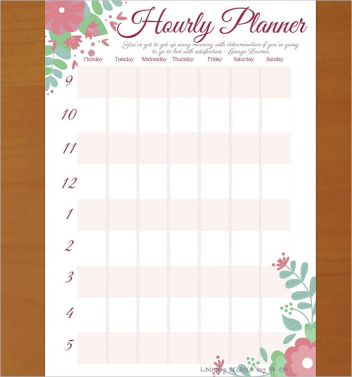 4 Hourly Schedule Template Free Download