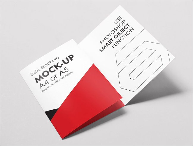 A5 Trifold Brochure Mockup Template