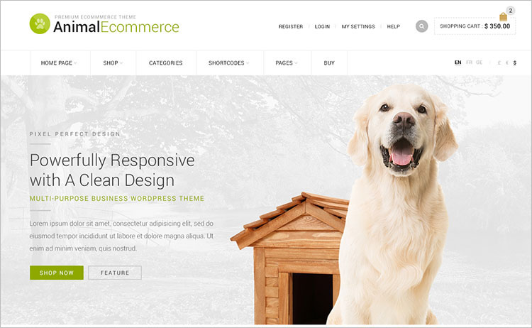 Animal E-commerce WordPress Theme