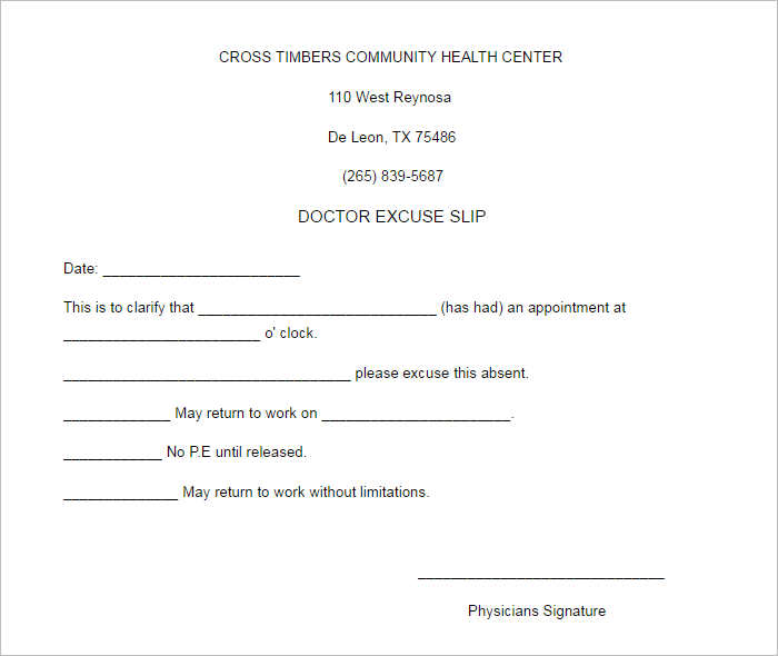 Blank Doctors Excuse Slip Note Templates