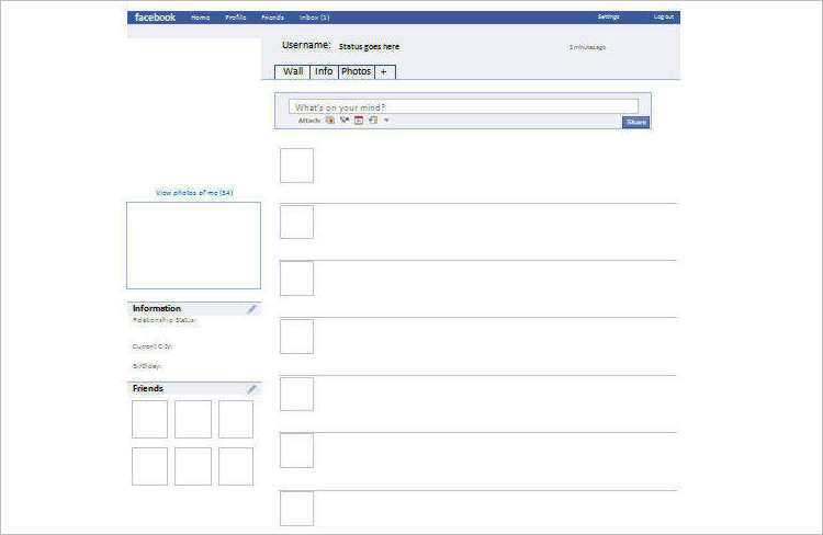 Blank Facebook Templates Design