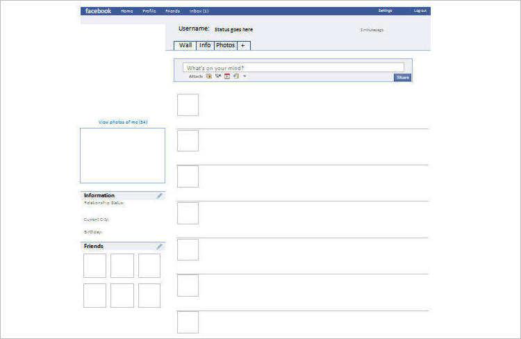 Blank Facebook Templates Design