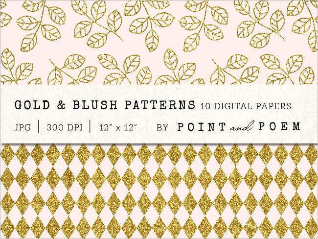 Blush Glitter Gold Pattern