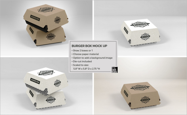 Burger Box Packaging Mockup Design