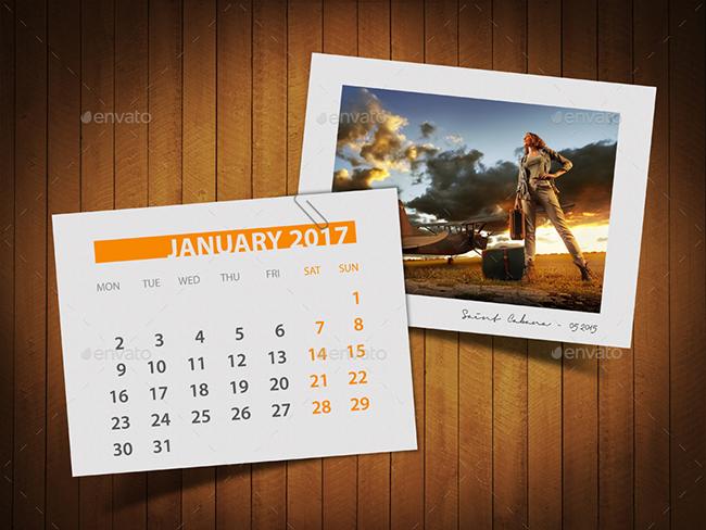 Calendar 2017 Photo Frame Mockup