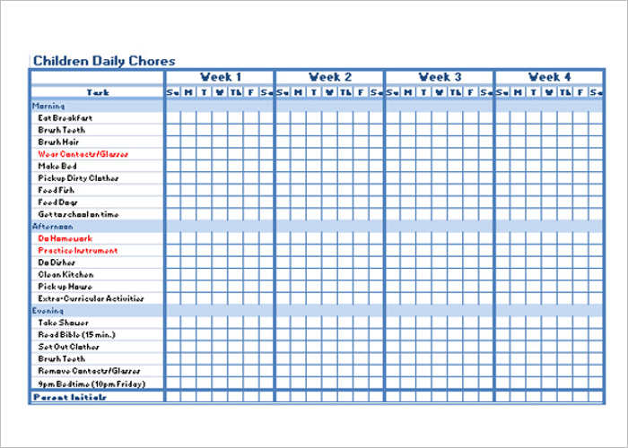 Children Chore Daily Chart Templates