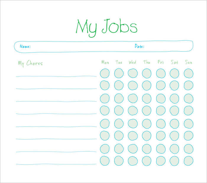 Chore Chart Schedule Templates