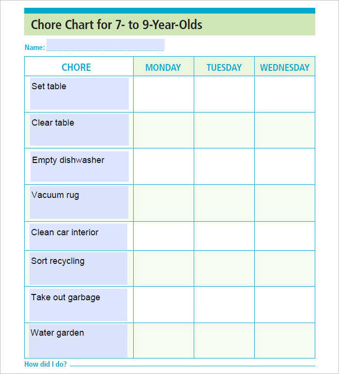 Chore Chart Templates Documents