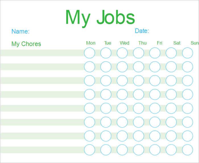Customizable Chore Chart Templates