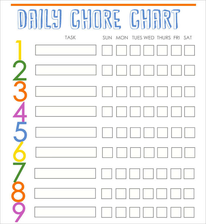 Daily Chore Chart Schedule Templates