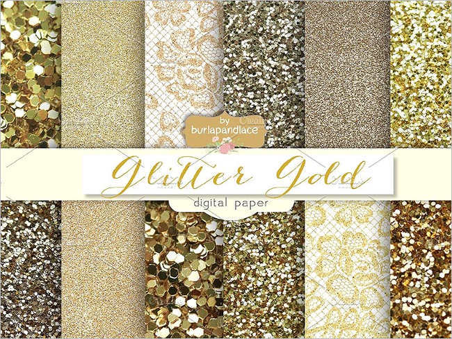 Digital Glitter gold Pattern