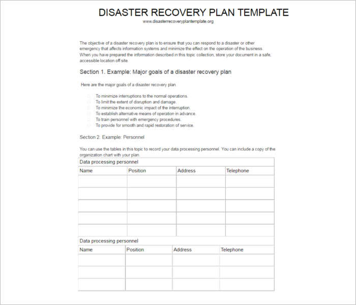 7 disaster recovery plan templates free pdf doc formats. Black Bedroom Furniture Sets. Home Design Ideas