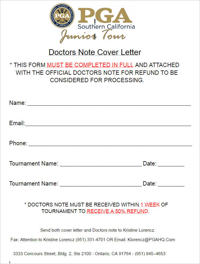 Doctor Note Cover Letter Templates
