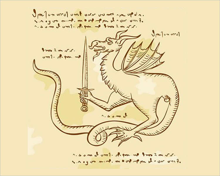 Dragon Holding Sword Etching Drawing