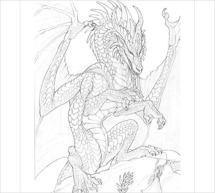 Easy Pencil dragon Drawing
