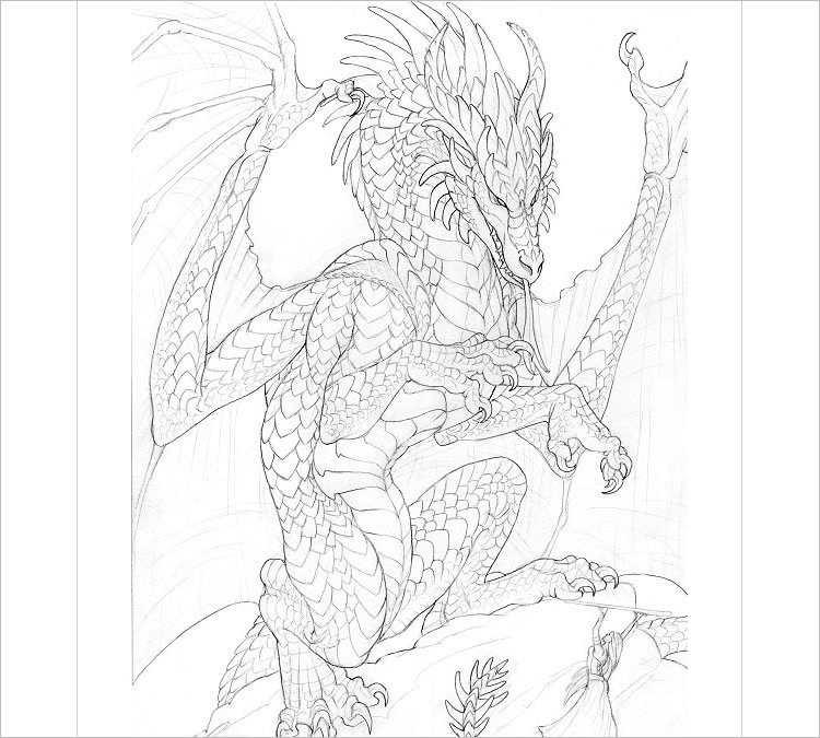 Easy Pencil dragon Drawing