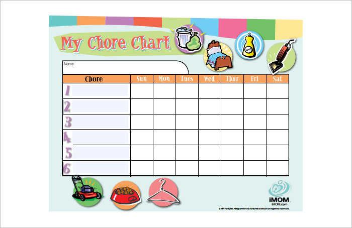 Editiable Chore Chart Templates PDF