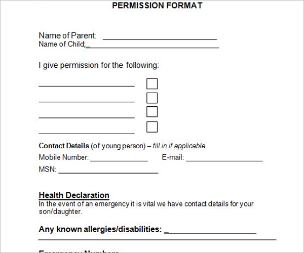 Example Of Permission Slip Template