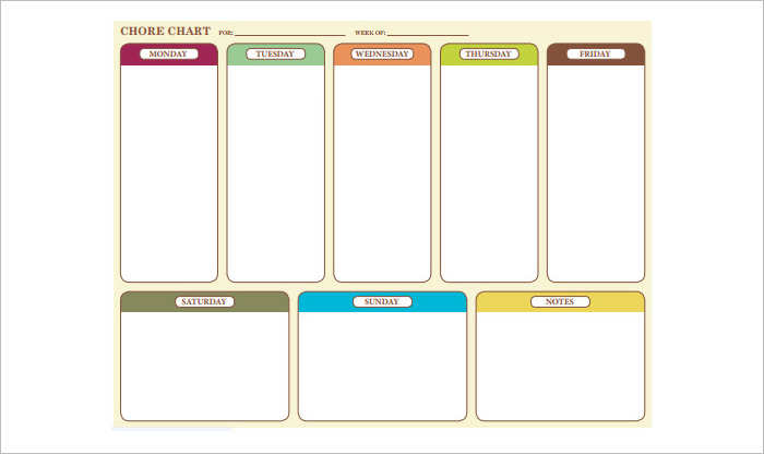 Family Chore Chart Schedule Templates
