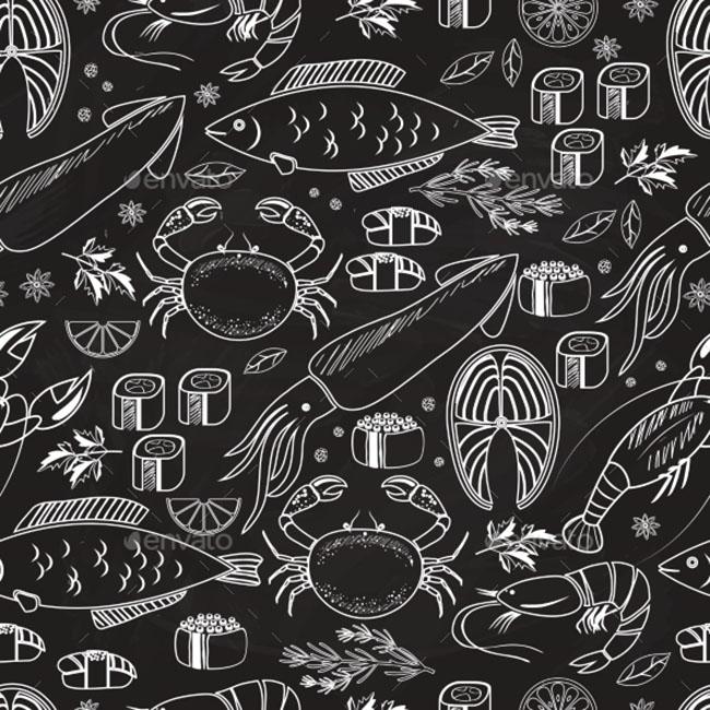 Fish Chalkboard Seamless Background