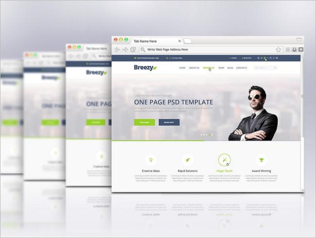 Flat Web Browser Mockup Template