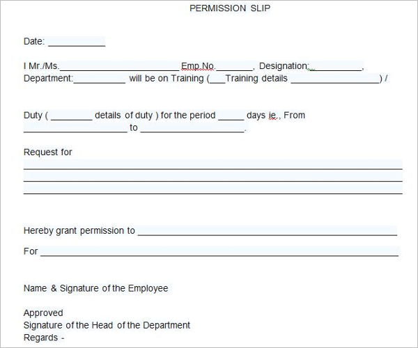 Flied Trip Permission Letter Template