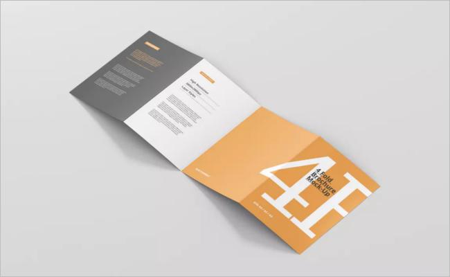 Four Folded A5 Brochure Mockup Design