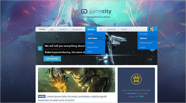 Gaming Blog Theme Templates