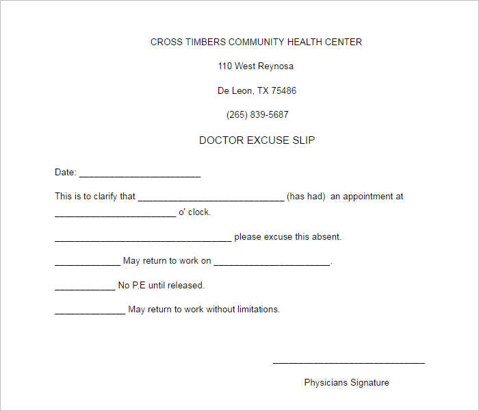 General Doctors Excuse Note Template