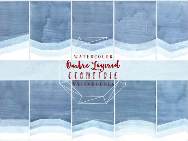 Geometric Ombre Watercolor paper Texture