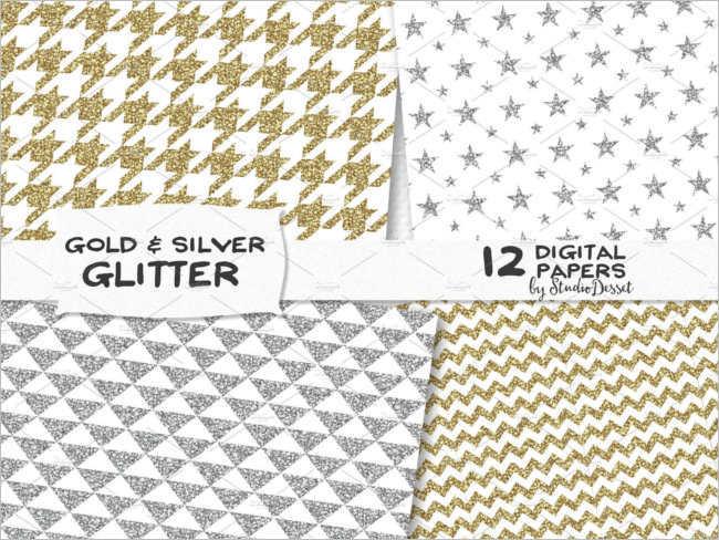 Glitter Matlic gold Pattern