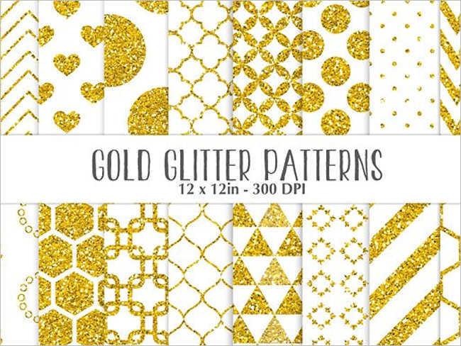 Gold Glitter White Pattern