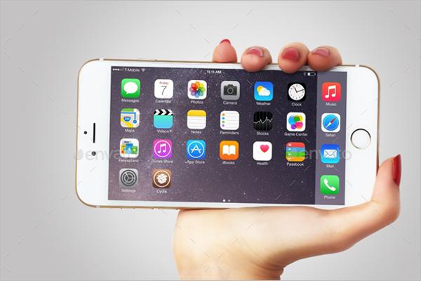 Hand Holding iPhone 6 Mockup Design